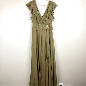 TADASHI COLLECTION Green Dress With Gold Detail
